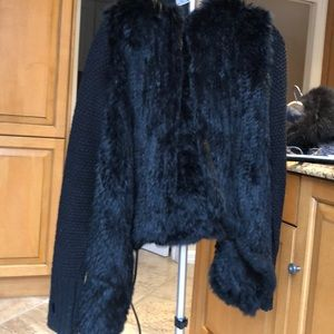 Real rabbit fur sweater with hood